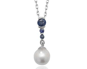 Blue Sapphire Gemstone & Cultured Pearl 2cm Teardrop Pendant 9ct White Gold Hallmarked