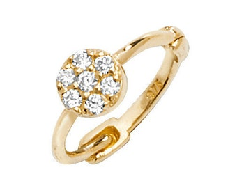 9ct Yellow Gold Cz Cluster Helix Cartilage 7mm Diameter Single Hoop Earring - Real 9K Gold