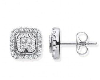 9ct White Gold 0.33ct Diamond Milled Bezel 8mm Square Stud Earrings