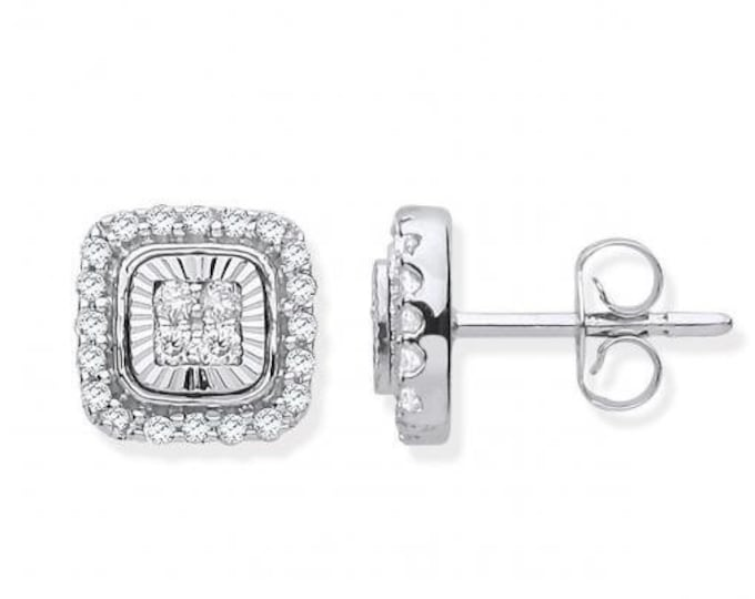 9ct White Gold 0.33ct Diamond Milled Bezel 8mm Square Stud Earrings