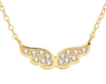 """9ct Yellow Gold Cz Angel Wings Pendant on Adjustable 16""""-18"""" Necklace Hallmarked"""