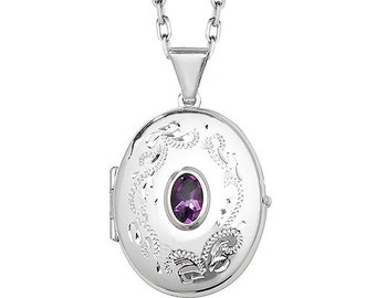 Sterling Silver Engraved Oval Shaped 2 Photo Locket With Centre Purple Amethyst