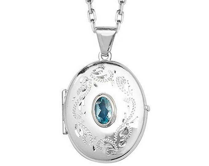 Sterling Silver Engraved Oval Shaped 2 Photo Locket With Centre Real Blue Topaz