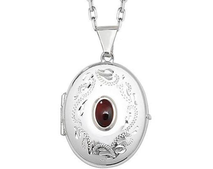 925 Sterling Silver Red Garnet Gemstone Oval Engraved 2 Photo Locket