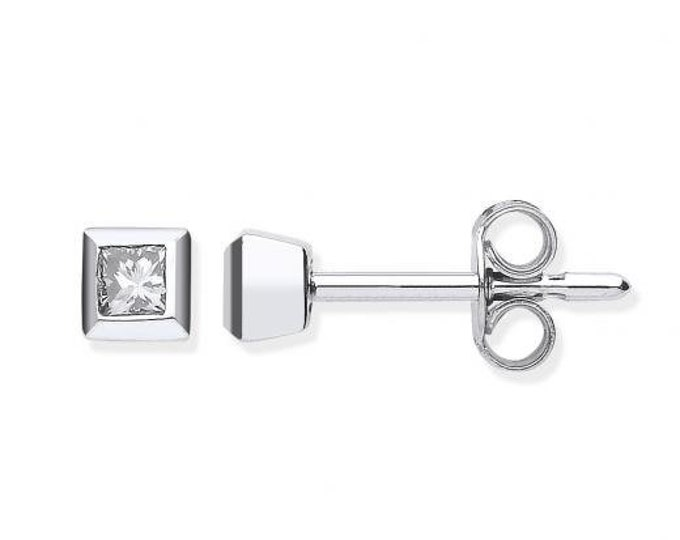 18ct White Gold 0.20ct Princess Diamond Rubover Set 5mm Stud Earrings