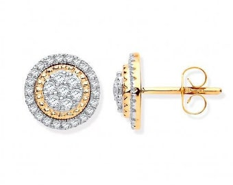 9ct Yellow Gold 0.36ct Pave Halo Diamond Cluster Stud 10mm Earrings - Real 9K Gold