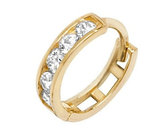 9ct Yellow Gold 8mm Diameter Channel Set Cz  Hinged Cartilage Single Hoop Earring - Real 9K Gold