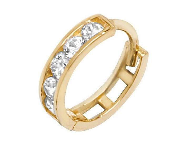 9ct Yellow Gold 8mm Diameter Channel Set Cz  Hinged Cartilage Hoop Earring