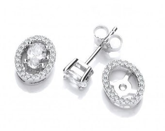 Two-in-One Sterling Silver Micro Pave Cz Oval Halo or Solitaire Stud Earrings