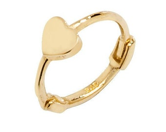 Heart Design 9ct Yellow Gold 8mm Diameter Cartilage Single Hoop Earring - Real 9K Gold