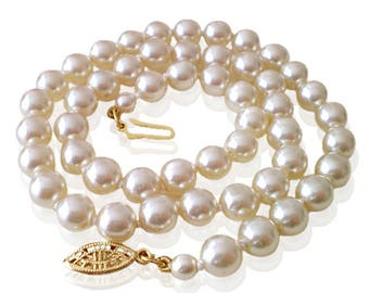 Vintage Cream 7mm Freshwater Faux Pearl 45cm Necklace With Gold Filigree Clasp