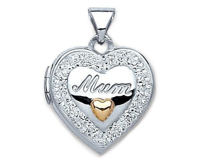 925 Sterling Silver 14mm Heart Shaped Mum Locket With Crystal Border