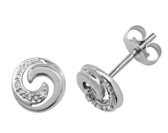 9ct White Gold 0.02ct HSi Diamond Swirl 6mm Stud Earrings - Real 9K Gold