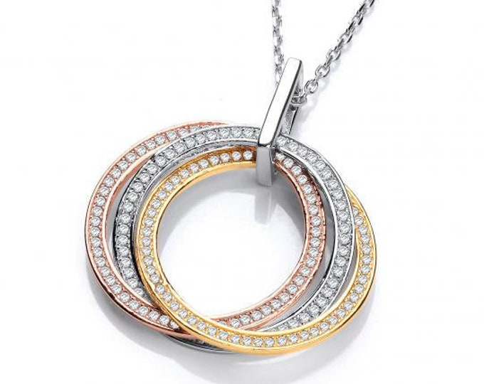 "Three Colour Circle of Life Micro Pave Cz Pendant Sterling Silver 16""-18"" Necklace"