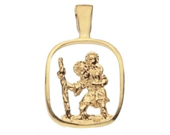 9ct Yellow Gold 1.8cm Square Cut Out St Christopher Medallion Charm Pendant - Real 9K Gold