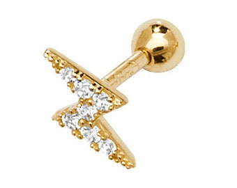 9ct Yellow Gold Cz Lightning Bolt Helix Cartilage 6mm Bar Screw Back Stud Earring