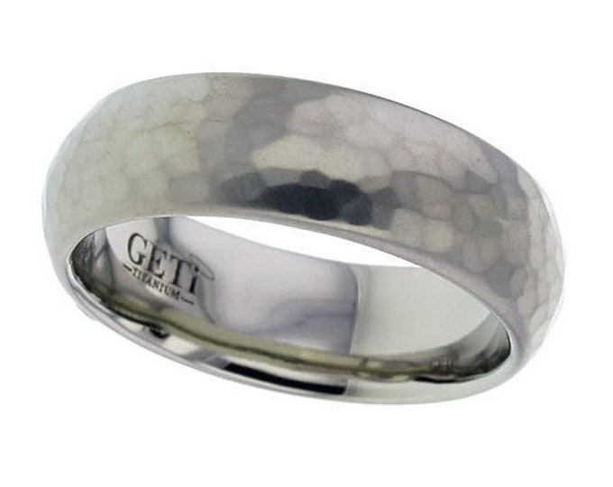 7mm Wide Titanium Court Wedding Ring Matt Hammered Finish - SIZE T
