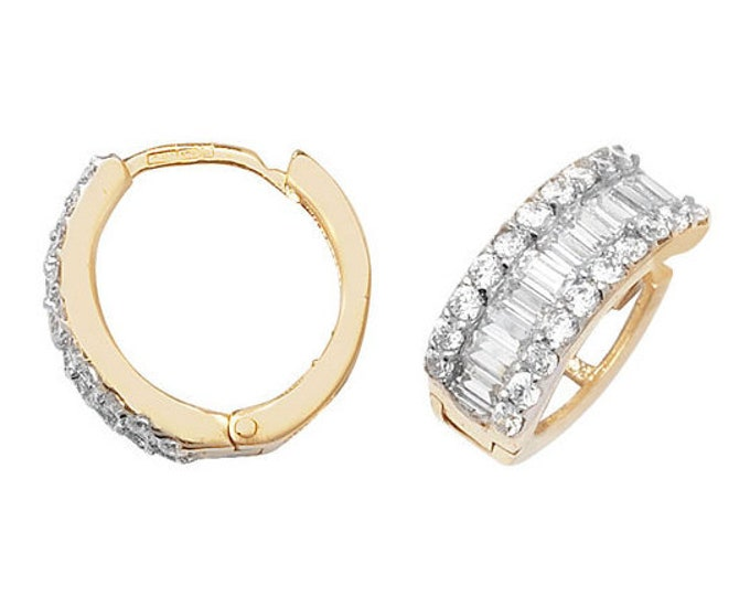 9ct Yellow Gold 10mm Baguette Centre Cz Hinged Hoop Earrings