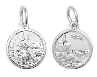 925 Sterling Silver Double Sided St Christopher Travellers Medallion Charm Pendant