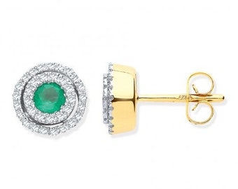 9ct Yellow Gold 0.25ct Double Halo Diamond & Emerald 9mm Stud earrings - Real 9K Gold