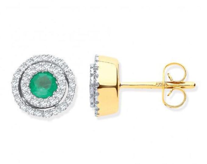 9ct Yellow Gold 0.25ct Double Halo Diamond & Emerald 9mm Stud earrings