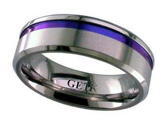 Flat Court Zirconium Wedding Ring With Anodised Coloured Groove & Chamfered Edges - Made to Order - FREE ENGRAVING