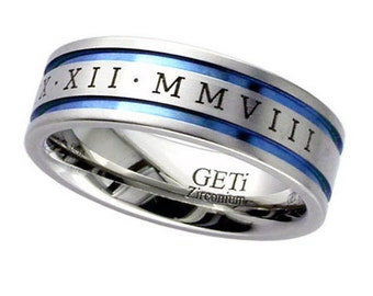 Flat Zirconium Wedding Ring With 2 Anodised Coloured Grooves & Engraved Roman Numerals - Made to Order - FREE ENGRAVING