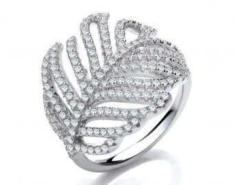 925 Sterling Silver & Micro Pave Cz Feather Ring