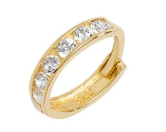 SINGLE 9ct Yellow Gold 7mm Diameter Half Channel Set Cz Cartilage Hoop Earring - Real 9K Gold