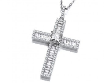 "Princess & Baguette Look-of-Diamond Cross Pendant Sterling Silver 16""-18"" Necklace"