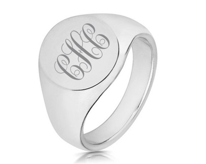 Gents 16x13mm Oval Signet Ring Engraved Monogram Initials 925 Sterling Silver
