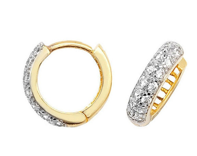 9ct Yellow Gold 8mm Pave Set Cz Hinged D Shape Hoop Earrings