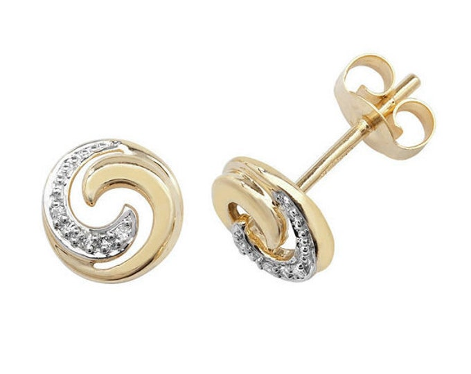9ct Yellow Gold 0.02ct HSi Diamond Swirl 6mm Stud Earrings