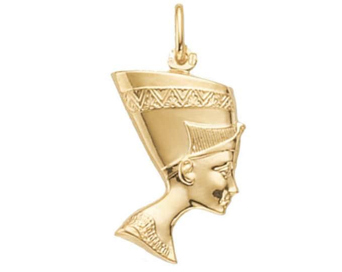 9ct Yellow Gold 2.5cm Egyptian Queen Nefertiti Head Pendant 1.7g Hallmarked