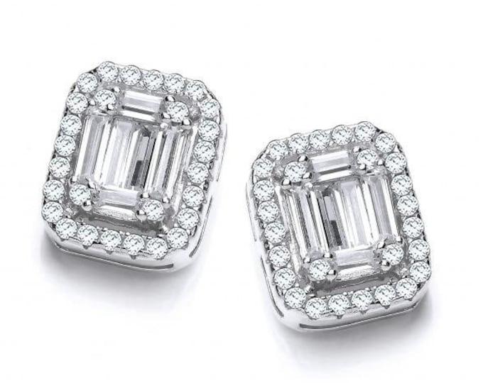 Baguette Cut Look-of-Diamonds Cz Cluster Stud Earrings Sterling Silver