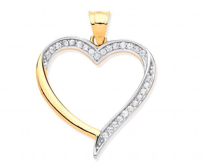 9ct Yellow Gold 2cm Micro Pave Cz Open Heart Charm Pendant Hallmarked