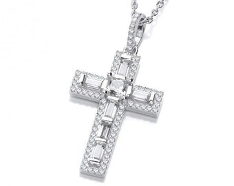 """Baguette & Round Cut Look-of-Diamond Cross Pendant Sterling Silver 16""""-18"""" Necklace"""