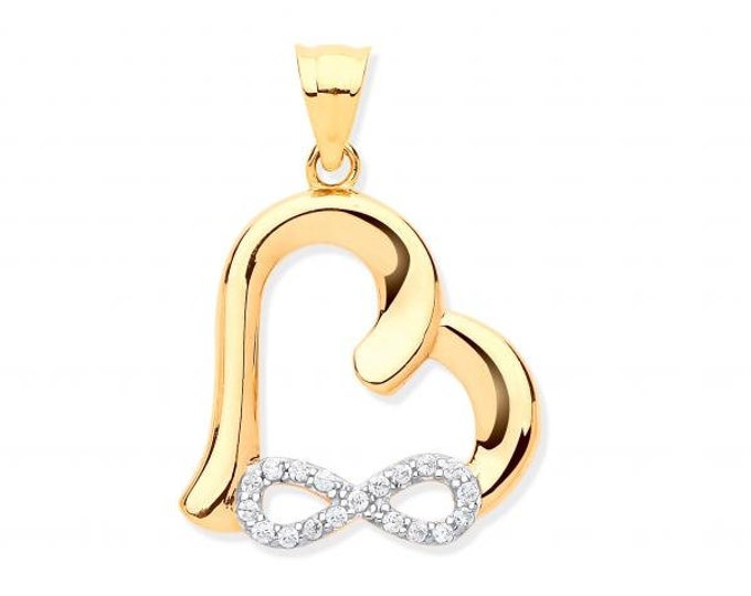 9ct Yellow Gold Pave Cz Infinity Link Heart Charm Pendant