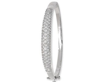Ladies 925 Sterling Silver Oval Bangle Pave Set With Cubic Zirconia Hallmarked