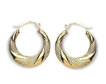 9ct Yellow Gold Diamond Cut Pattern 20mm Creole Hoop Earrings