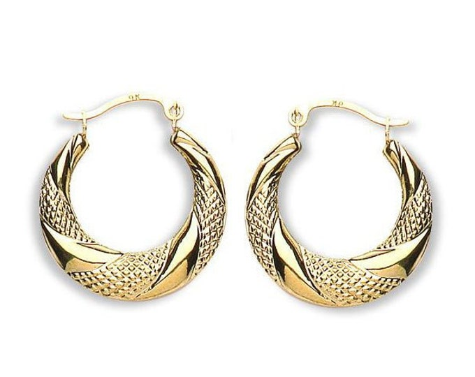 9ct Yellow Gold Diamond Cut Pattern 20mm Creole Hoop Earrings