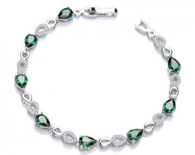 "Emerald Green Teardrop & Micro Pave Cz Link 7"" Bracelet Sterling Silver"