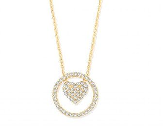 """9ct Yellow Gold 12mm Cz Circle of Life Pendant on 17"""" Chain With Suspended Heart Hallmarked"""