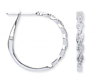 9ct White Gold 15mm Twisted Pave Set Diamond Hoop Earrings 0.20ct Diamond
