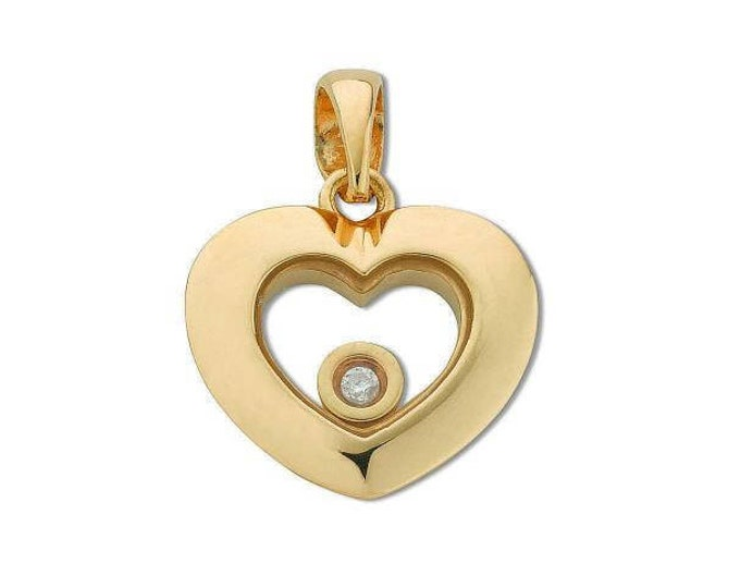 9ct Yellow Gold Floating Solitaire Diamond Heart Shaped Pendant