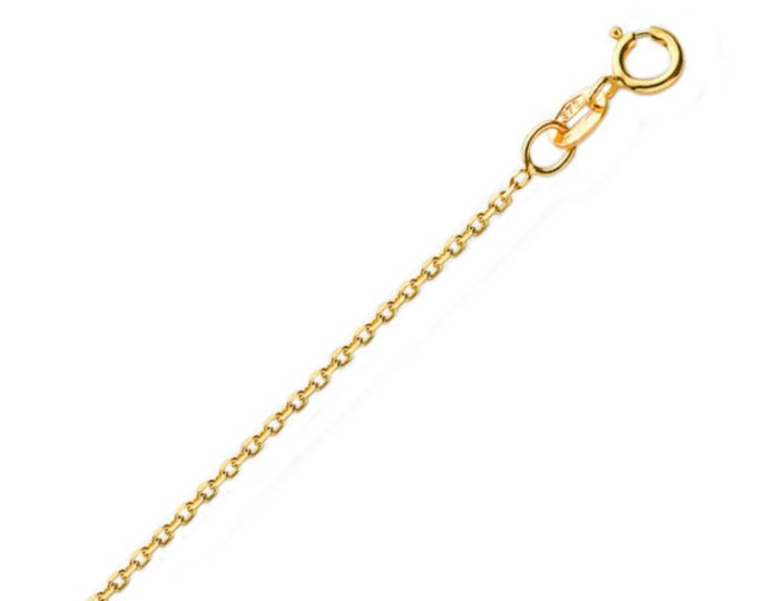 "Ladies 9ct Yellow Gold Light Weight Diamond Cut Fine Curb Chain 16"" 18"" 20"" - Real 9K Gold"