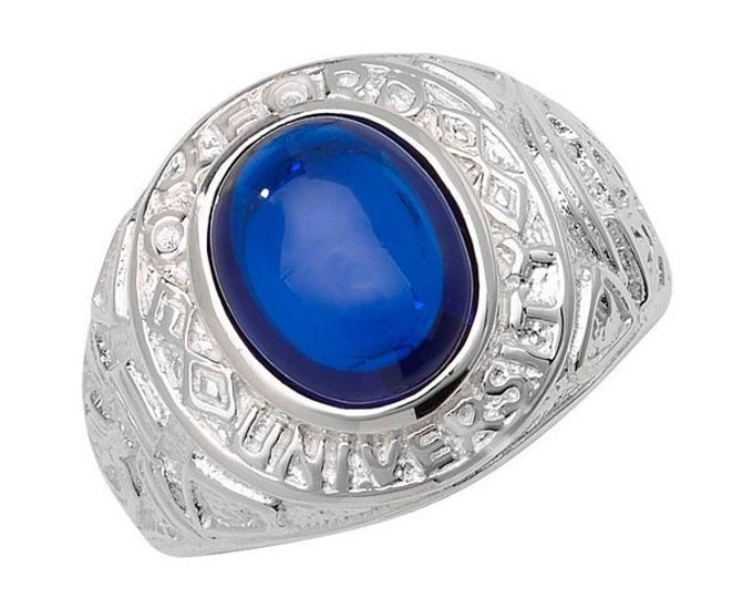 925 Sterling Silver Oxford University College Ring Blue Glass Cabochon Signet Ring