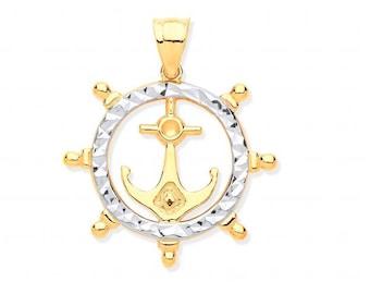 9ct 2 Colour Gold 1.9cm Nautical Ship's Wheel & Anchor Charm Pendant
