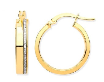 9ct Yellow Gold 15mm Diameter Stardust Stripe Hoop Earrings