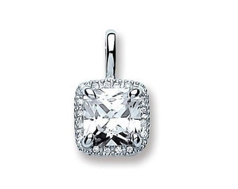 925 Sterling Silver 8mm Princess Solitaire Cz Pendant With Pave Halo Surround